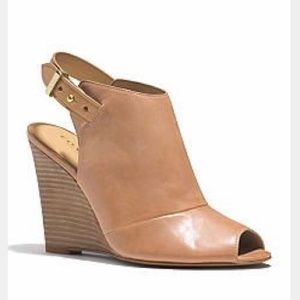 Camel leather Coach Lindsay wedge
